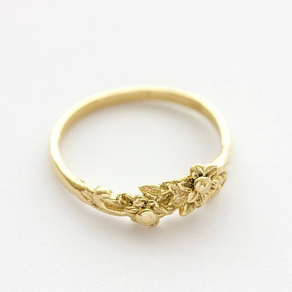 Vintage Floral Bouquet Wedding Band Ring in 14k Yellow Gold. $239.00, via Etsy