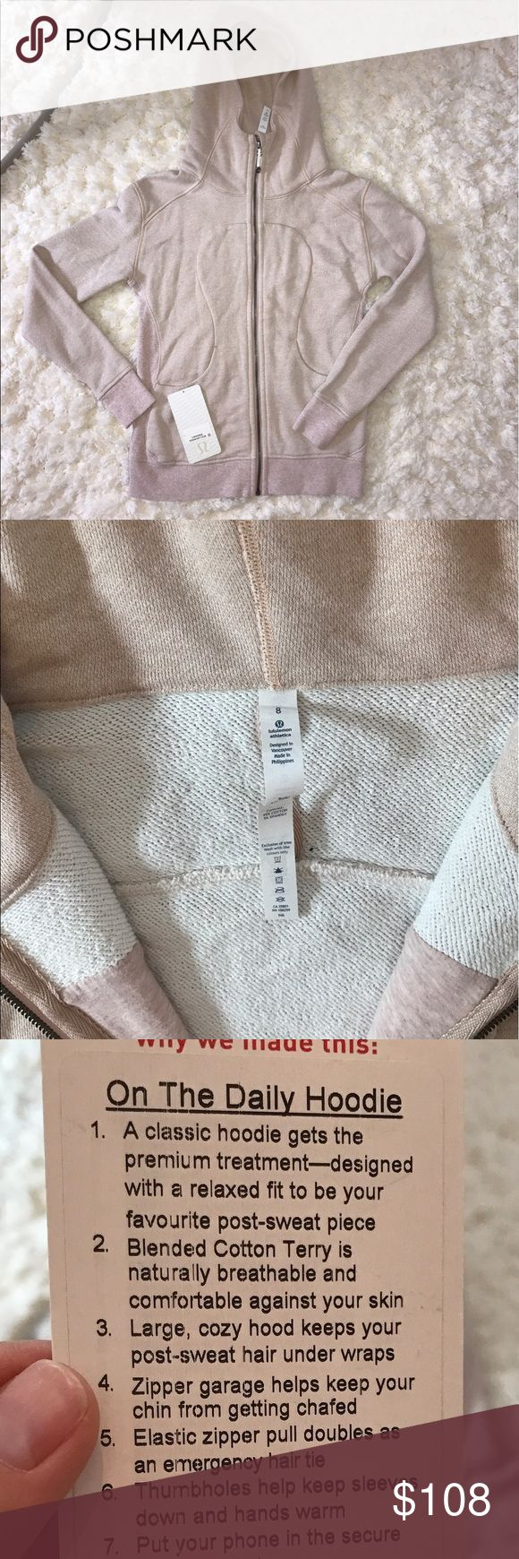 {lululemon} on the daily hoodie heathered blush Pinkish rose beige tone. Purchased at lululemon store w/in last year, took on plane with me but didn't need, then found out I was pregnant and haven't worn since. I'll send tag with in pocket. #onthedaily #lululemon #hoodie lululemon athletica Tops Sweatshirts & Hoodies