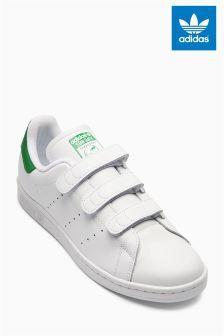 Бело-зеленые кроссовки на липучках adidas Originals Stan Smith
