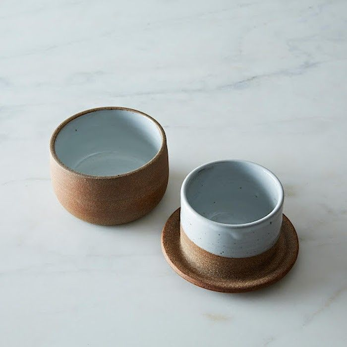 A French Ceramic Butter Keeper. This covered example is made in California of dishwasher-safe, wheel-thrown stoneware; $30 at Provisions by Food52
