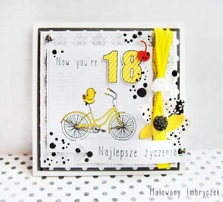 Rowerem w dorosłość :) Męska kartka na 18 urodziny   #scrapbooking, #card, #kartka, #handmade, #rękodzieło, #malowanyimbryczek, #flowers, #kwiaty, #birthday, #urodziny, #18birthday, #18urodziny, #bike, #contrast, #boy