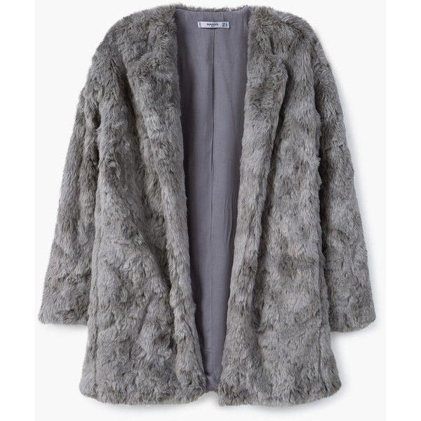 MANGO Faux Fur Coat ($120) ❤ liked on Polyvore featuring outerwear, coats, fur-lined coats, faux fur lined coat, imitation fur coats, long sleeve coat and fake fur coats