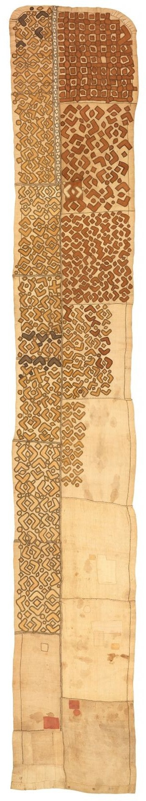 Africa | Kuba Woman's Skirt. Bushoong People, DR Congo | Early 20th century | Raffia palm fiber, appliqué and embroidery