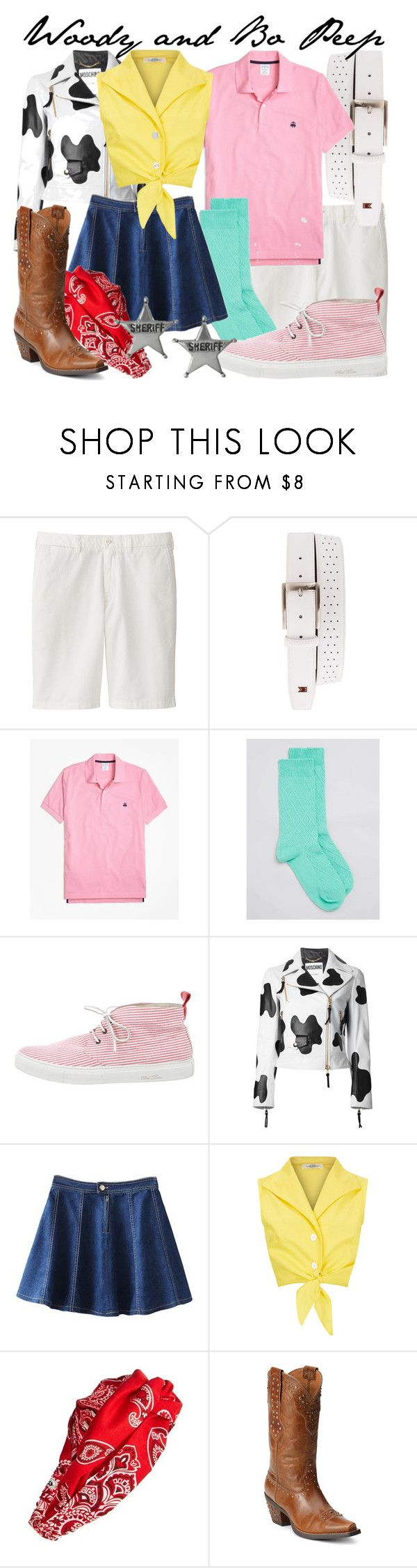 """""""Woody and Bo Peep Genderbent"""" by fabulousgurl ❤ liked on Polyvore featuring Uniqlo, NIKE, Brooks Brothers, Topman, Del Toro, Moschino, Cara, Ariat, Journee Collection and toystory"""