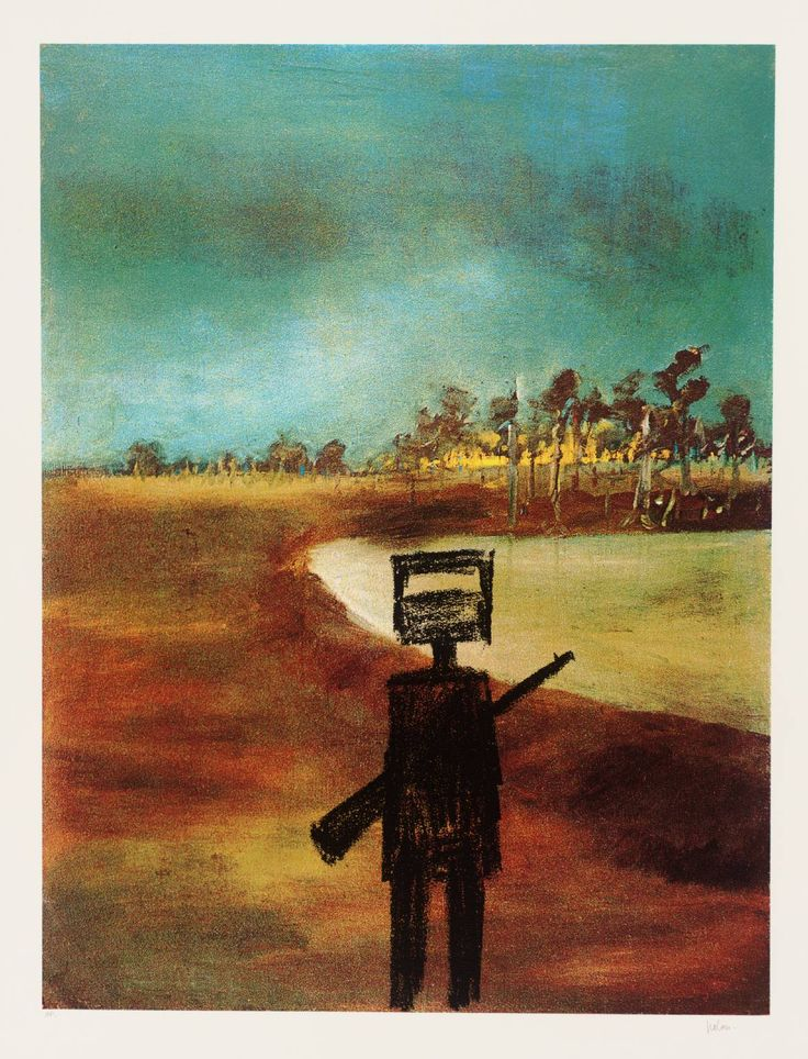 Sir Sidney Nolan: Landscape 1978-9. I've always loved Nolan's explorations of the Ned Kelly myth. In a number of paintings, Kelly appears to be an empty suit waiting to be populated with our own imaginings...