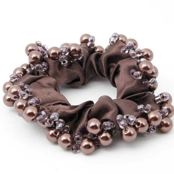 Glossy Satin Fabric Faux Pearl Ball Embellished Ponytail holder  Scrunchies #Handmade