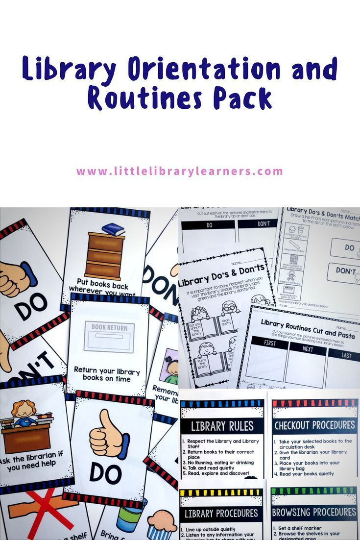 Library Skills Library Orientation and Routines pack for the elementary library. Includes no prep printables, matching cards, posters and bookmarks. Get your students library ready for back to school!