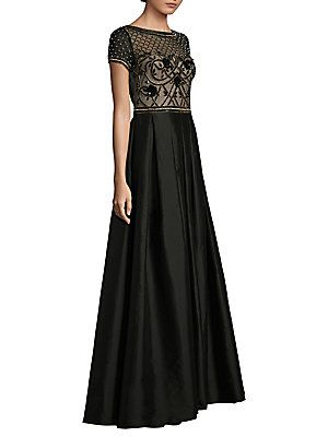 Aidan Mattox Beaded Mesh Ball Gown