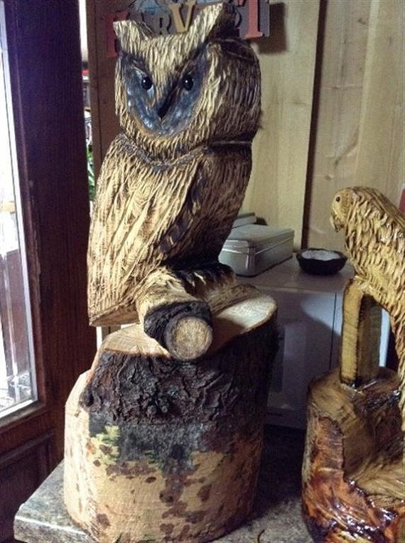 Chainsaw carved owl chouettes jardin rue pinterest