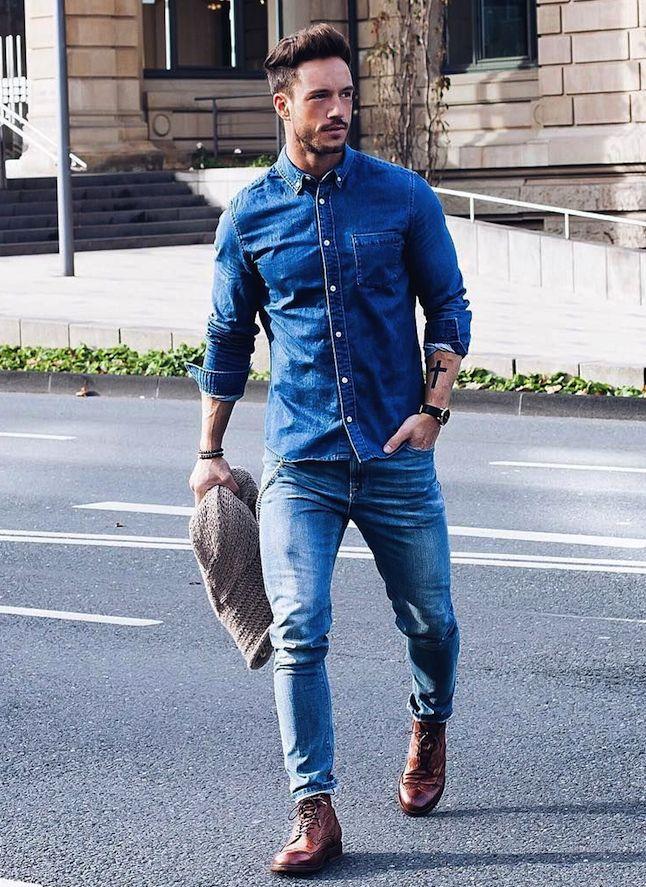 デニムオンデニム,メンズコーデ,着こなし,デニムシャツ,ジーンズ                                                                                                                                                     もっと見る