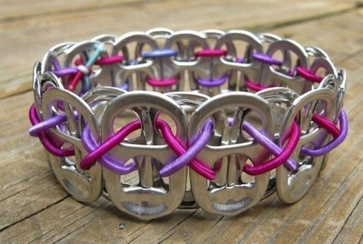 """Up-cycled"" Soad Tab Bracelet - video tutorial. Even cuter when you use colored tabs or colored elastic, string or ribbon."