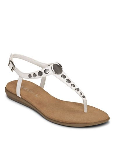 Aerosoles Chlambake Leather Sandals WHITE