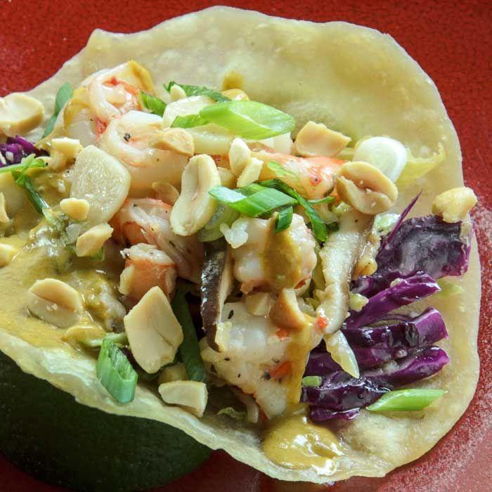 Asian Tacos with Prawn & Shiitake Filling & Cabbage Slaw | LunaCafe