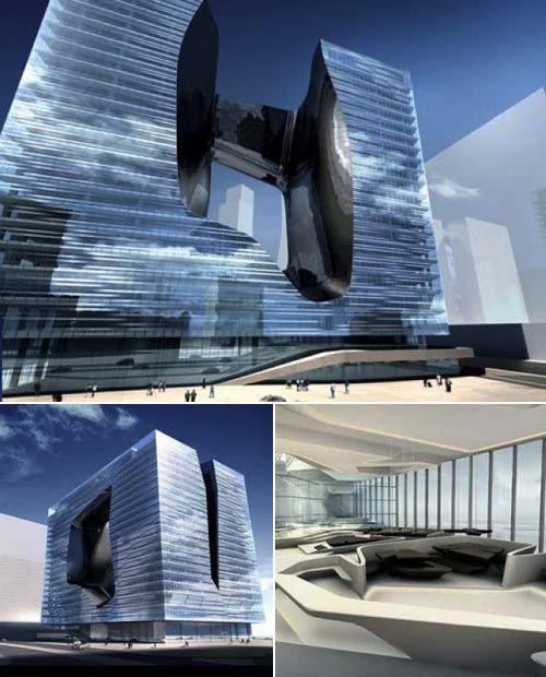 The future in Dubai  Dubai architecture: new buildings in the United Arab Emirates.