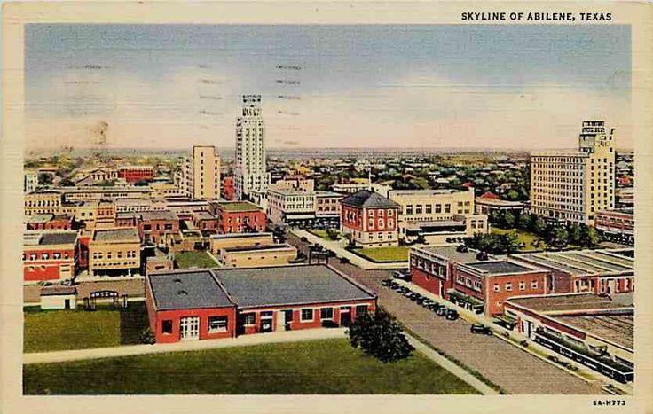 Abilene Texas TX 1936 Abilene Skyline Vintage Linen