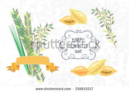 "Vector collection of labels and elements for Sukkot (Jewish Traditional Holiday). Icon/badge with signature ""Happy Sukkot"". Template for postcard or invitation card with lemons and traditional herbs"