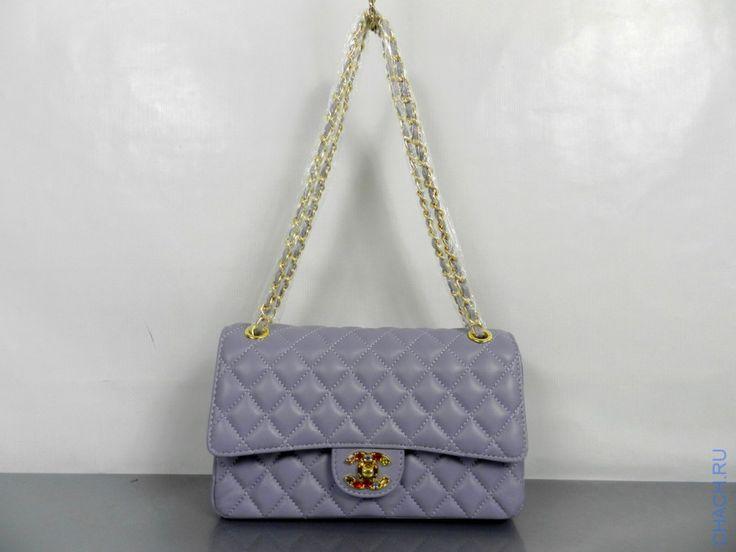 Сумка брендовая Chanel Classic Flap Bag из натуральной кожи с отделкой разноцветными камнями