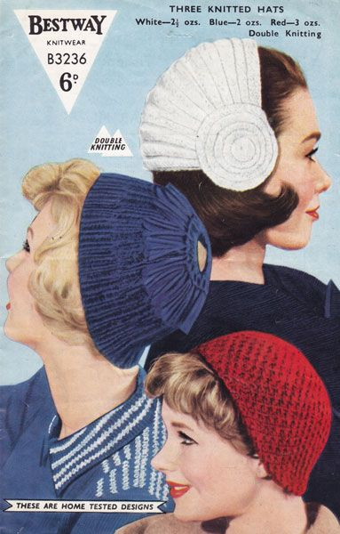 vintage knitting pattern for ladies hats 1950s
