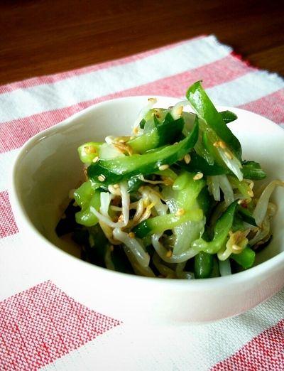 レンジで簡単もう一品♪】きゅうりともやしの中華風サラダ(酢の物 ...