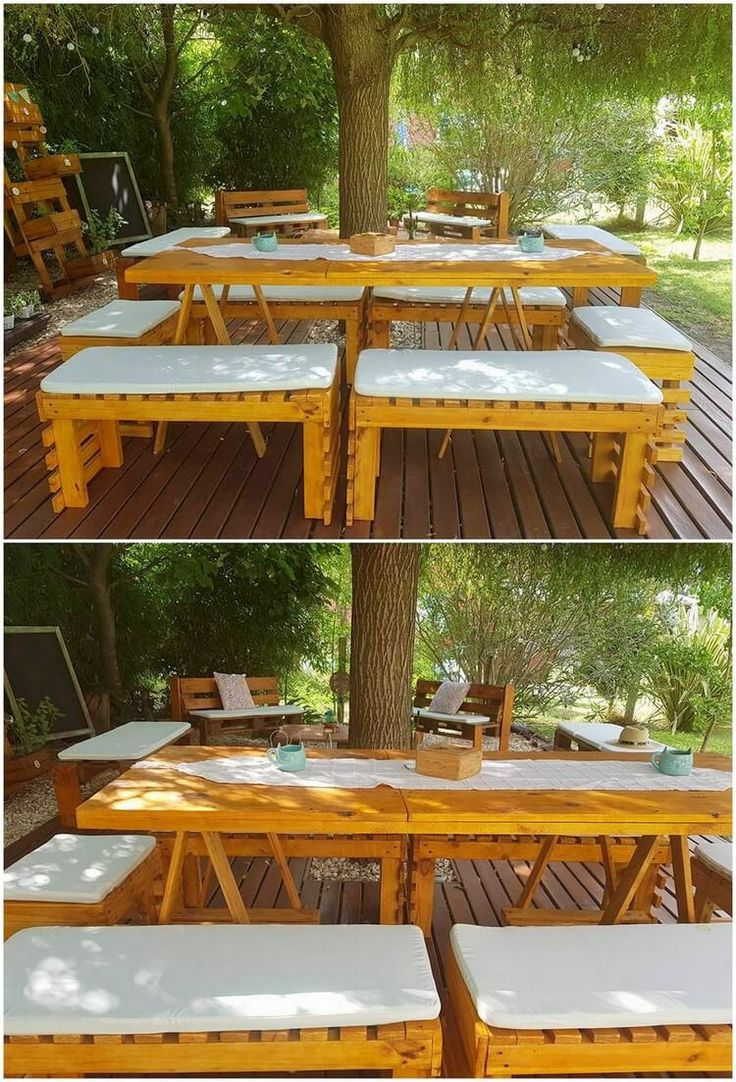 This idea of recycling the wood pallet is all about the interesting pallet table and benches outdoor dining furniture artwork in it. It is shaded with the light brown rustic wood pallet hues that makes it look so inspiring. Contemporary designing work is giving it an outstanding look.