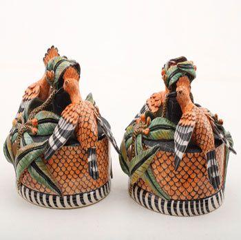 Ardmore Ceramics: Hoopoe Candlesticks pair