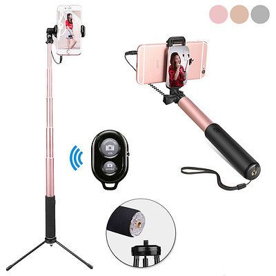 Extendable Mirror Handheld Selfie Stick +Tripod+Bluetooth Remote for Android IOS
