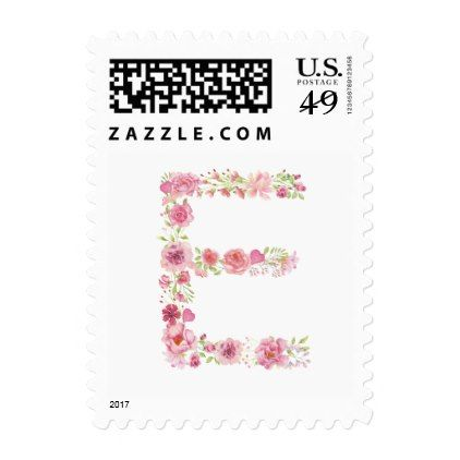 E Initial Floral Monogram Postage Stamp - bridal shower wedding marriage party bride idea