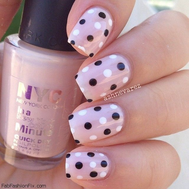 Soft nude glam nails with polka dot details. #nude #nails #nailart
