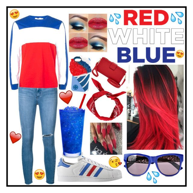 """""""Red❣White😻Blue💙"""" by officially-mya ❤ liked on Polyvore featuring Nobody Denim, adidas Originals, Boohoo, Moschino, Tory Burch and Relic"""