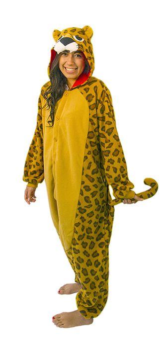 Leoparddräkt Kigurumi. Leoparden är känd för att vara planetens överlägset snabbaste djur tillsammans med den nära besläktade geparden. Med hastigheter upp till 100 km/h är det inte så konstigt. Så om du också känner för att vara lika snabbfotat på väg till maskeraden, festen eller tillställning – hoppa in i denna leopard Kigurumi.