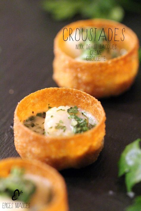 Croustade de noix de Saint-Jacques, crème ciboulette - Epicesmalices.com !
