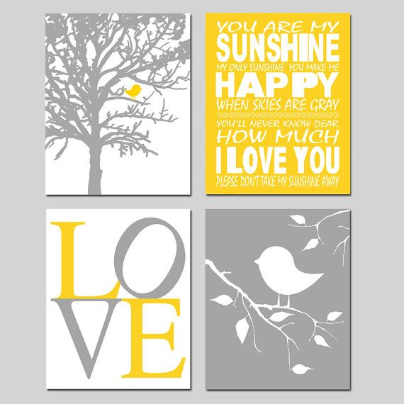Baby Bird Sunshine Nursery Quad  Set of Four 8x10 by Tessyla, $65.00