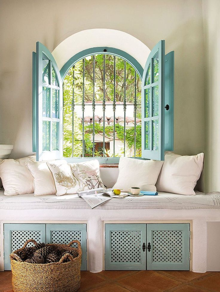turquoise window seat interiors white minimal