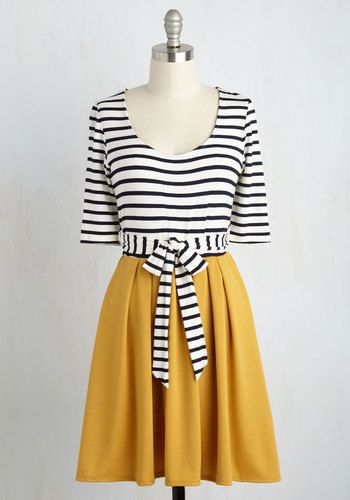 You don't need to be a fortune teller to see that this twofer dress will become an integral part of your wardrobe! A ModCloth-exclusive design with trending potential, this pleated A-line - with its navy stripes, cropped sleeves, and goldenrod skirt - is a sign of fashionable times to come!