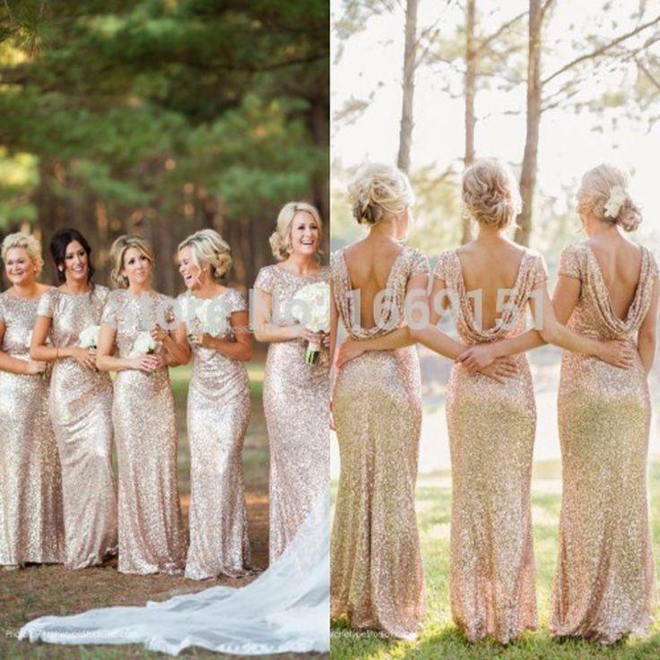 Aliexpress.com: Comprar Champán del oro largo de dama de honor vestidos lentejuelas manga corta palabra de longitud vestido de dama de 2015 Prom Party Dress Wedding Dress de vestidos de ropa fiable proveedores en Love Prospective Dress