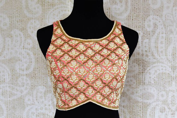 402635 Beautiful Pink Pearl Embroidered Designer Saree Blouse