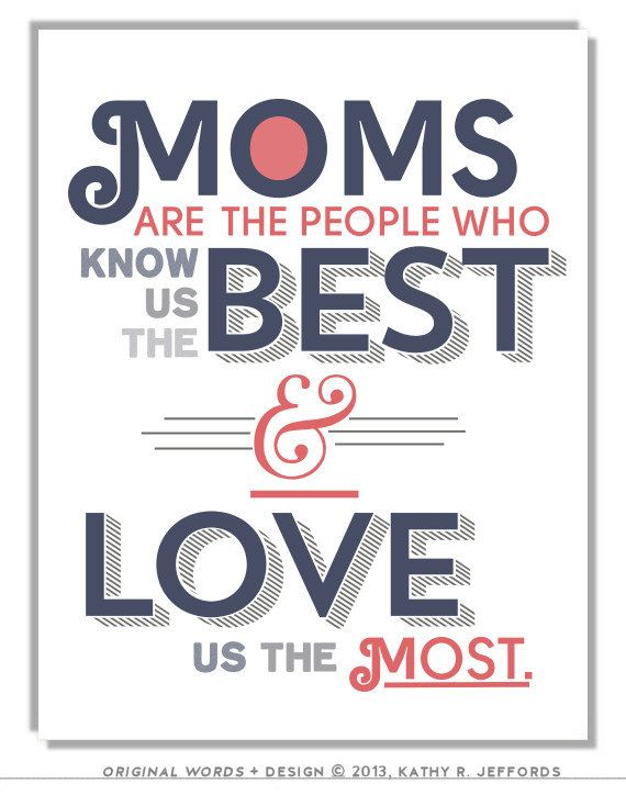 Typographic Print For Mom Or Mum. Moms Love Us The Best Navy And Coral Wall Art. Mother's Day Or Birthday Gift For Mom. Motherhood Art.