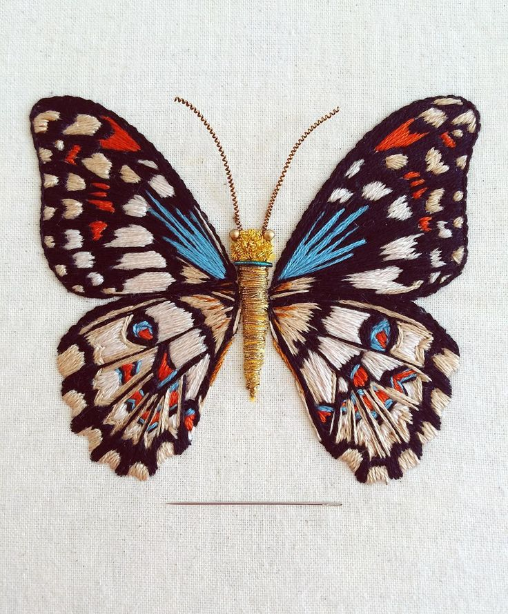 Kupu-Kupu (n.) an Indonesian word meaning butterfly 🦋  .  .  .  The chequered Swallowtail butterfly - hand embroidered using silks, cotton threads, metal wires and beads on an unbleached cotton fabric   #TheOldeSewingRoom