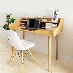 Soges Computer Desk 47″ Solid Wood Desk Home Office Desk Mid-century Desk Writing Table, Teak JS31SS12