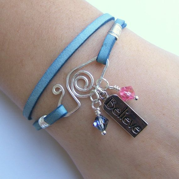 Blue Jean Genuine Deerskin Lace Leather Wrap Charm Bracelet - Silver Believe Charm - Pink & Heliotrope Crystal Beads - Spiral Wire Closure