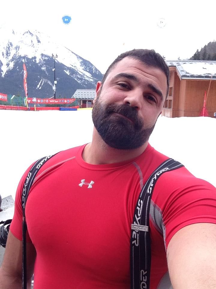 Muscle Bear. Men. Beards. Snow.