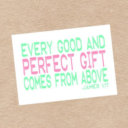 "Religious ""Perfect Gift"" Nursery Wall Art DIY Printable in Green and Pink- James 1:17 on Etsy, $5.29 CAD"