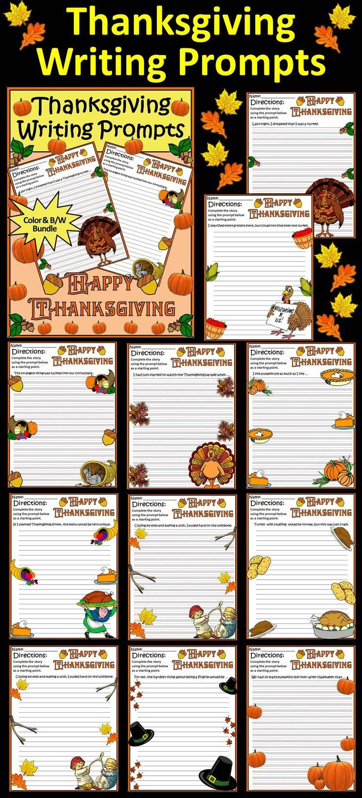 Thanksgiving Writing Prompts: This Thanksgiving writing packet contains ten different holiday story starters with both primary and regular line formats. Contents include: * Ten Thanksgiving Writing Prompts on Primary Lined Paper * Ten Thanksgiving Writing Prompts on Regular Lined Paper * One Thanksgiving Blank Writing Page with Primary Lines * One Thanksgiving Blank Writing Page with Regular Lines #Thanksgiving #Writing #Activities #Teacherspayteachers
