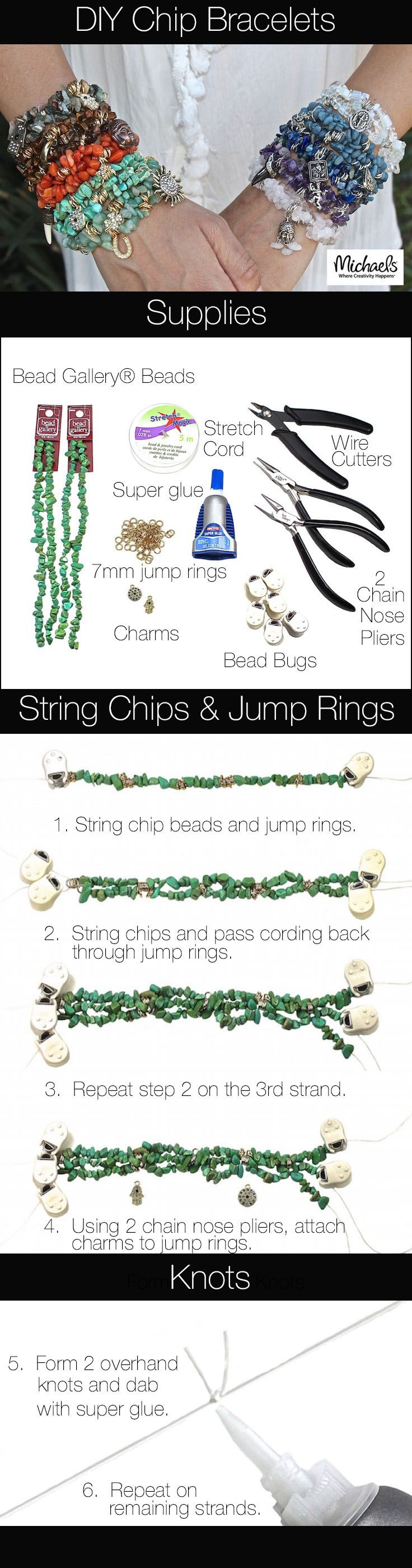 Create trendy stackable DIY Chips Bracelets with this easy tutorial