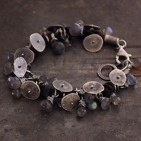 Citrine Bracelet • Labradorite bracelet• Charm bracelet • brut en argent sterling 925 cuir bracelet