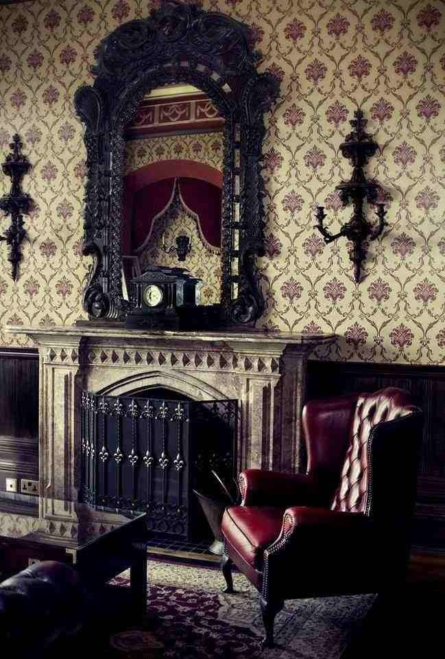 Dark Victorian Inspired Fireplace and Mantle mirror