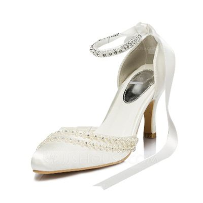 Wedding Shoes - $65.99 - Women's Silk Like Satin Spool Heel Closed Toe Pumps With Imitation Pearl Rhinestone (047046375) http://jjshouse.com/Women-S-Silk-Like-Satin-Spool-Heel-Closed-Toe-Pumps-With-Imitation-Pearl-Rhinestone-047046375-g46375