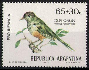 ARGENTINA/SELLOS, 1972 - AVES ARGENTINAS: ZORZAL COLORADO - PRO INFANCIA VARIEDAD AVE COLOR VERDE - CAT ARG 918 - CAT GJ 1587 - 1 VALOR - NUEVO