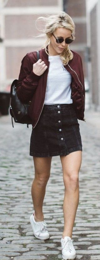 Burgundy Bomber Jacket, White Tee, Black denim Button Front Skirt, White Sneakers | Happily Grey                                                                             Source