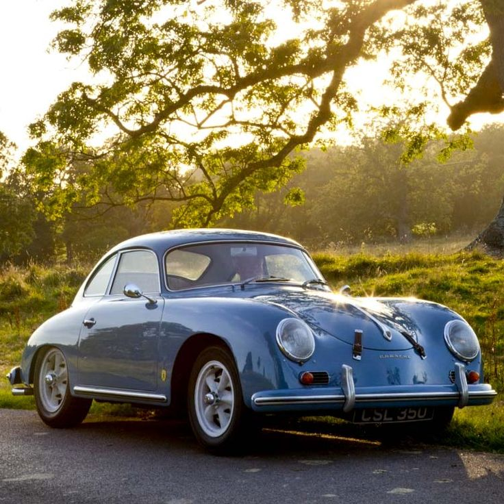 Blue Porsche 356. Me driving with the windows down and a scarf in my hair